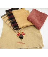 Nice Lot of 5 Autumn Color Thanksgiving Dish Tea Towels Rust Gold Turkey - $14.84