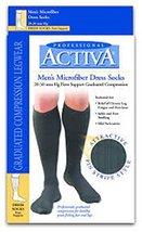 Activa Men's 20-30 mmHg Microfiber Dress Socks, Grey, X-Large - $20.99