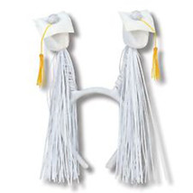 Grad Caps w/Fringe Boppers (white) Party Accessory 1 head piece - $9.89