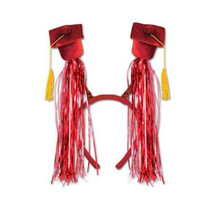 Grad Caps w/Fringe Boppers (red) Party Accessory 1 head piece - $9.89