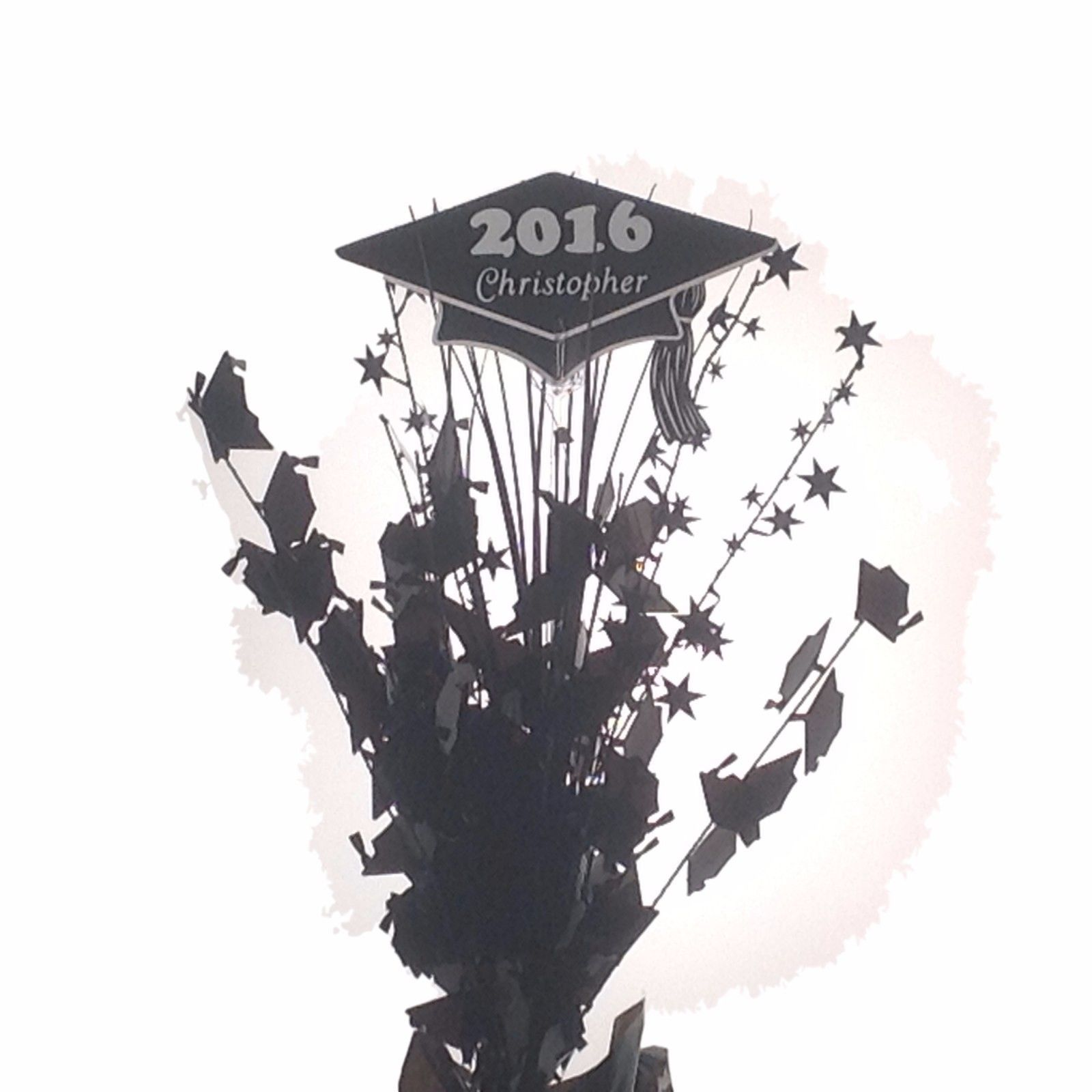 Personalized year & name Shiny Black Graduation Balloon Weight Centerpiece