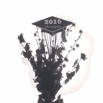 Personalized year & name Shiny Black Graduation Balloon Weight Centerpiece - $14.84