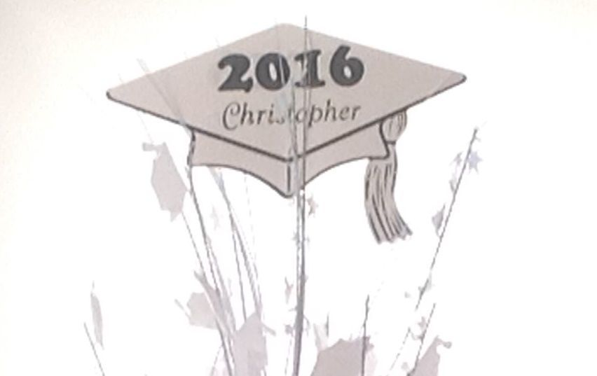 Personalized year & name White Graduation Balloon Weight Centerpiece