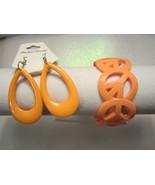 Acrylic Bracelet & Earring Set In Orange Bracelet Peace - $9.99