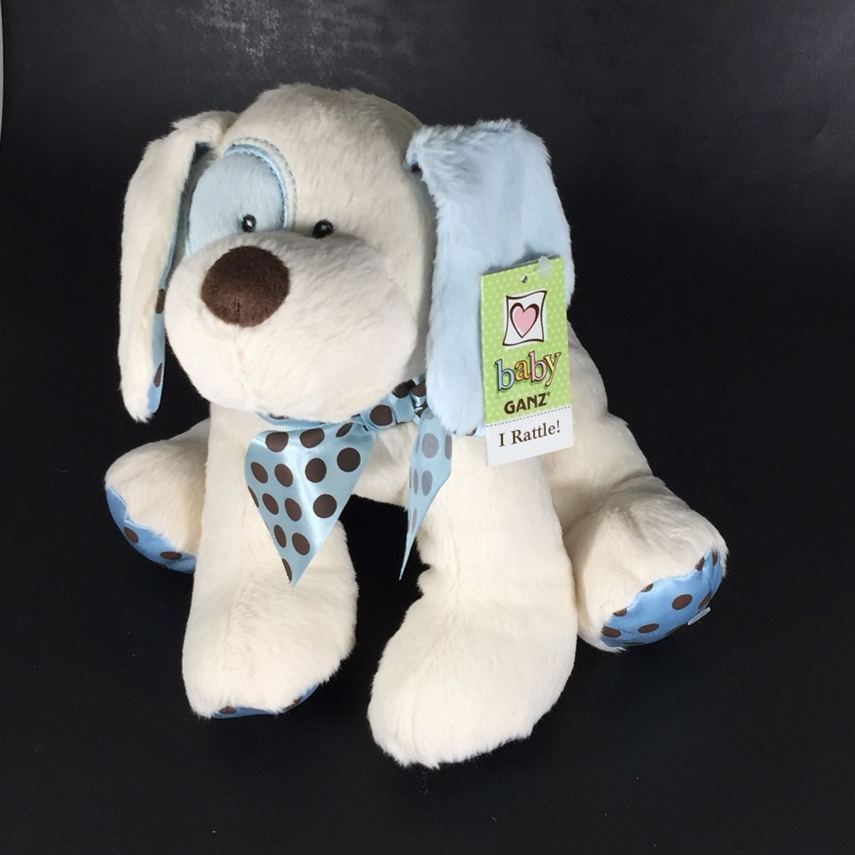 Baby GANZ Stuffed Animal Dog Chocolate Drops Puppy Rattle Blue Plush New Toy