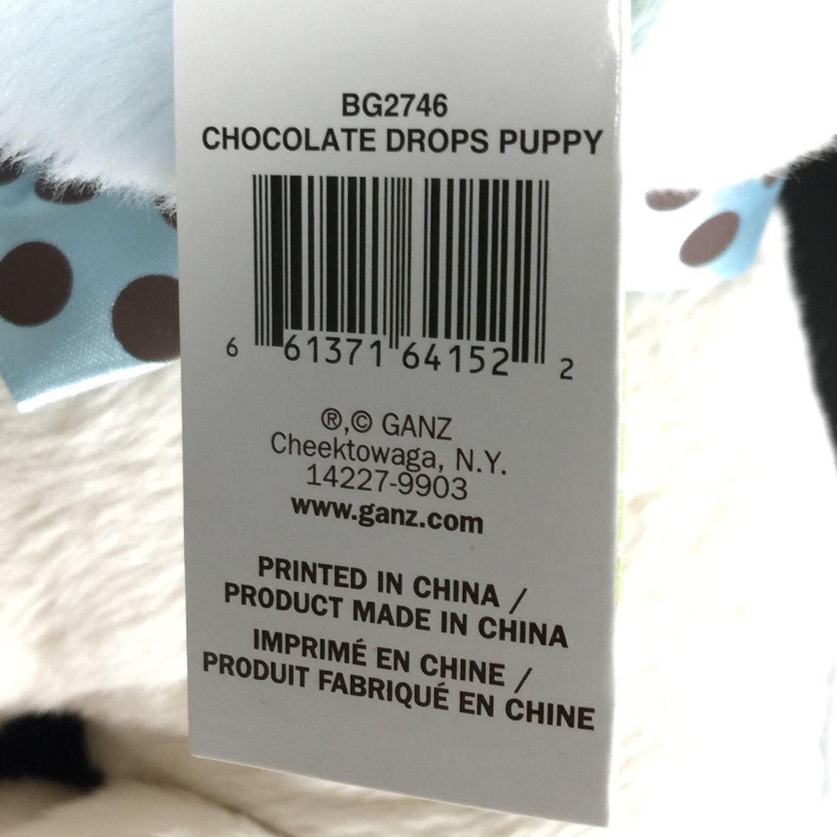 Baby GANZ Stuffed Animal Dog Chocolate Drops Puppy Rattle Blue Plush New Toy image 5