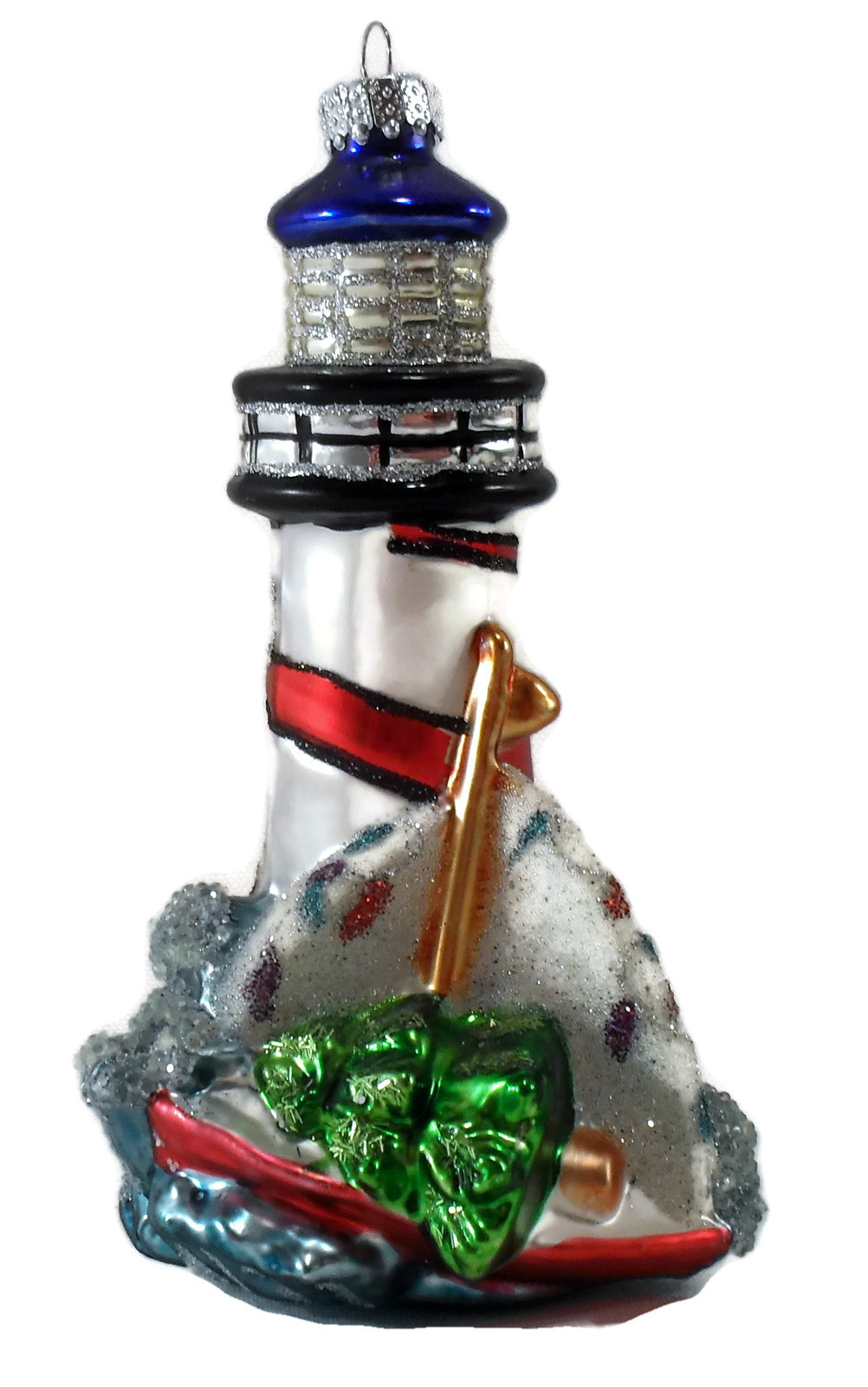 Vintage nitrate glass lighthouse christmas ornament for Collecting vintage christmas ornaments