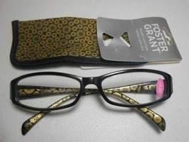 """Foster Grant """"Kiley"""" Readers with Case Black & Gold Design +1.50 - $9.88"""
