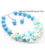 Chunky Blue & White Shell With Bead Necklace Set - $22.99