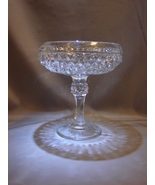 """Indiana Glass Diamond Point Candy Dish Compote 7"""" Tall Clear Glass - $6.00"""