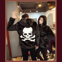 Unisex Fashion Frenzy Skull Crossbones Hooded Faux Rabbit Fur Zip Up Jacket Coat