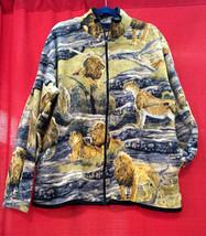 Plush Comfortable Lions Big Cats Polar Berber Fleece Jacket Winter Warm - $39.99