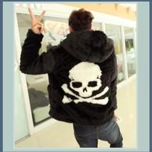 Unisex Fashion Frenzy Skull Crossbones Hooded Faux Rabbit Fur Zip Up Jacket Coat image 2