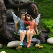 Romantic Fairy Couple Mini Figurines Swing Garden Landscape Ornament Res... - £8.42 GBP