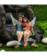 Romantic Fairy Couple Mini Figurines Swing Garden Landscape Ornament Res... - $11.87