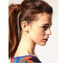 EAR CUFF earrings gold chain ear clips 1pc - $14.99