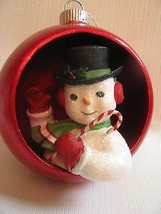 """Large Snowman Top Hat  Push Indent Ornament   4-1/2"""" Red Ball Bethany Lowe-  - $29.65"""