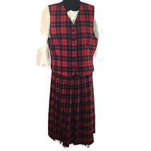 Vtg Pendleton Red Tartan Plaid Vest L Pleated Skirt M 100% Wool Christmas USA - $58.41
