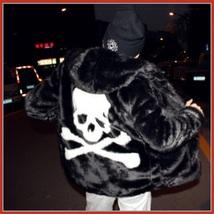 Unisex Fashion Frenzy Skull Crossbones Hooded Faux Rabbit Fur Zip Up Jacket Coat image 3