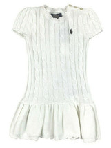Polo Ralph Lauren Girls Cream White Cable Knit Peplum Sweater Dress Sz 5 9938-1 - $52.46