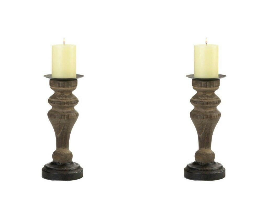Set of 2 Rustic Antique Style Wooden Column Pillar Candle Holders
