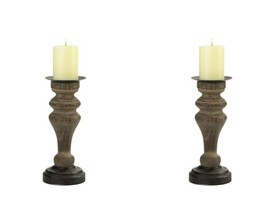 Set of 2 Rustic Antique Style Wooden Column Pillar Candle Holders - $45.49