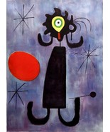 """Joan Miró, oil on canvas after his famous work """"Woman in front of the Su... - $195.00"""