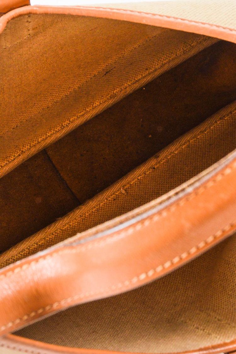 """VINTAGE Hermes Beige Tan Box Calf Leather Canvas """"Trim I"""" Shoulder Bag image 7"""