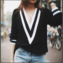Loose Long Sleeved Knitted Pullover Striped Edge V Neckline Black Sweater image 1