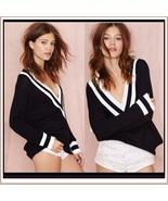 Loose Long Sleeved Knitted Pullover Striped Edge V Neckline Black Sweater - $54.95