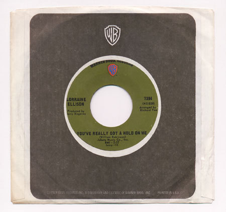 "soul LORRAINE ELLISON You've Really Got a 1969 WB 7"" Hold on Me/You Donâ"
