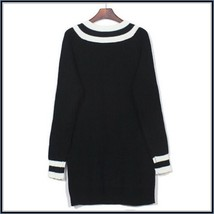 Loose Long Sleeved Knitted Pullover Striped Edge V Neckline Black Sweater image 4