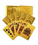 24 Ct.Gold Foil Poker Cards w/52 Cards,2 Jokers and Etched $100-Bill Rea... - $39.99