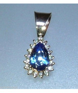Tanzanite Diamond Halo Pendant Estate Pear Shap... - $949.00