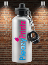 PERSONALISED SILVER WATER BOTTLE OWN TEXT PHOTO LOGO - $12.70