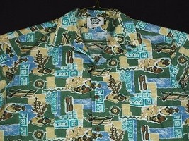 Hilo Hattie Green Camp Hawaiian Shirt Fish Canoe Corel Style 599 M EUC - $19.97