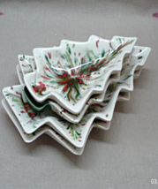 Vintage Retro Set of Four Splatter Glaze Nesting Christmas Tree Candy Dishes - $13.00