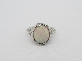 Vintage Sterling Silver Fire Opal Filigree Ring Size 7.75 - $59.00