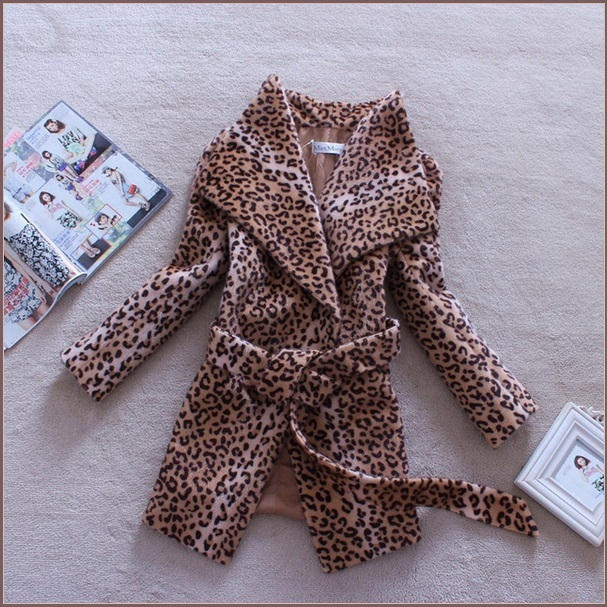 Wide Flare Turn Down Collar  Leopard Long Sleeved Sash Belted Wool Coat