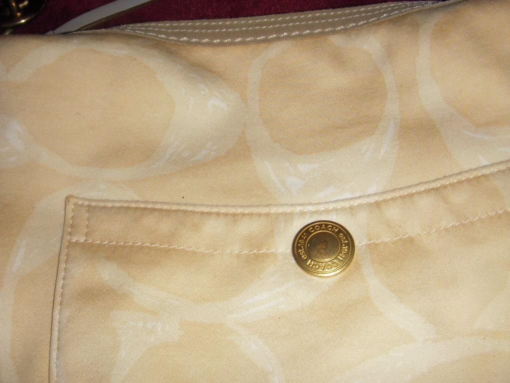 Authentic COACH Monogram logo Satchel shoulder Bag Purse Beige w/ Brass Hardware