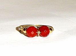 14K Yellow Gold Red Carnelian Round Briolette 2-Stone Ring, Size 7.25, 6... - $89.99