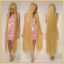 Straight Natural Beige Blonde Extra Long Length Long Bangs Center Parted Cap Wig