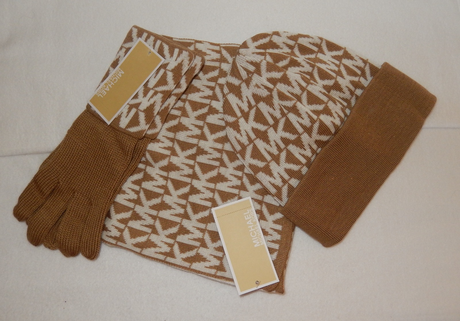 michael kors scarf hat gloves set beige white mk logo