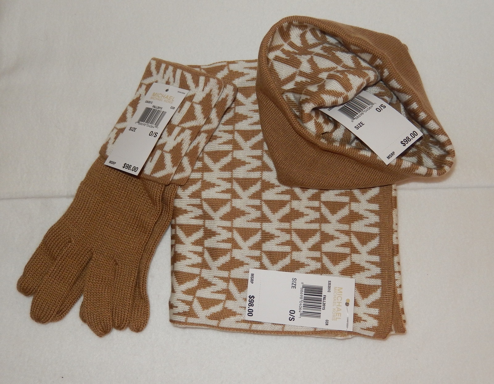 michael kors scarf hat gloves set beige white mk logo