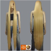 Straight Natural Beige Blonde Extra Long Length Long Bangs Center Parted Cap Wig image 2