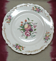 "Vintage Homer Laughlin Tan Scrolls Fruit & Flowers 10-1/4"" Plate // Repl... - $8.99"