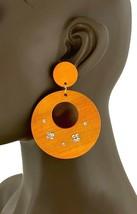 "3"" Long Boho Wood Lightweight Orange Ethnic Hoop Earrings, Casual, Made In USA - $10.45"