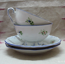 Vintage Hand Painted Bavarian Porcelain Tea cups With Saucers // Marked EKC - $16.00