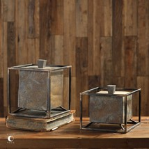 TWO NEW RICH NATURAL SLATE STONE & IRON FRAME DECORATIVE BOXES REMOVABLE... - $195.80