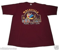 VTG 80s (XL) Jerzees NASHVILLE, TN MUSIC CITY USA Burgundy Shirt Moon Gu... - $61.56 CAD